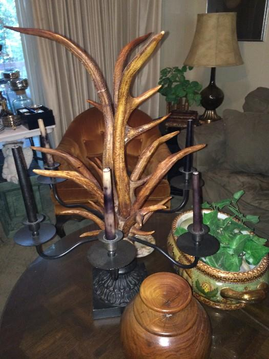 Unique antler candle holder