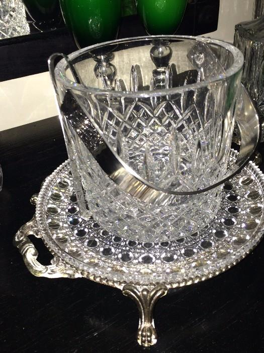 Lovely serving plate & ice bucket