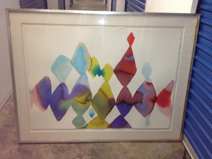 Large modern watercolor by listed artist Alice Baber.