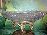 Antique Pairpoint silver plated and cut glass bowl