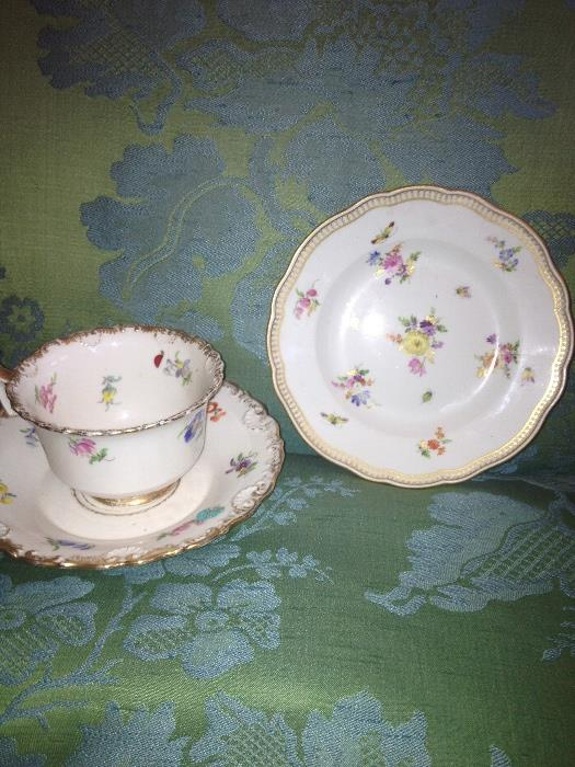 Lot of misc. Meissen plates, bowls, cups saucers