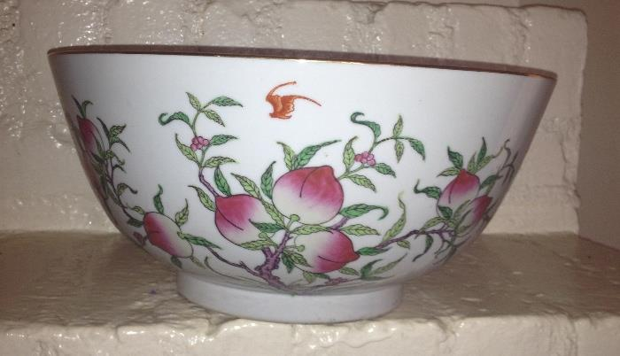 Chinese signed peach bowl