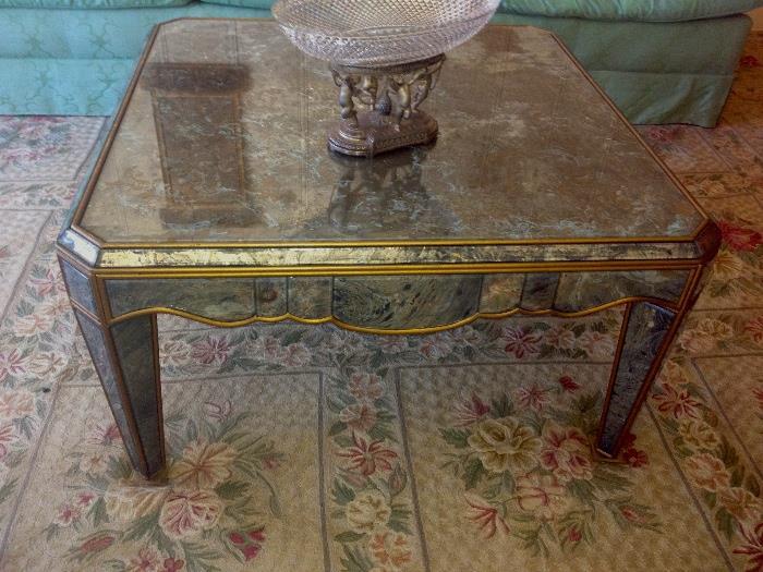 Fantastic Hollywood Regency mirrored coffee table