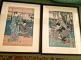 Pair Japanese woodblock prints 1835