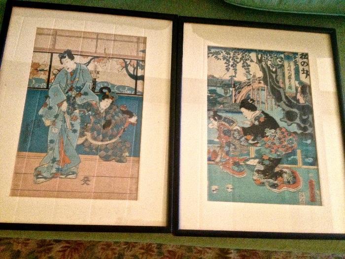 Pair Japanese woodblock prints 1835