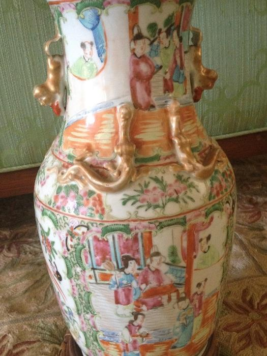 Many Chinese vases made into lamps