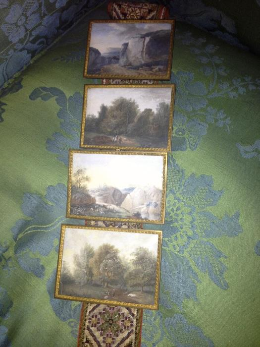 4 antique hand painted porcelain landscape scenes on tapestry pull.