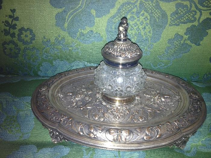 English antique silver-plate inkwell