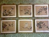 Set of 6 hand painted on silk Chinese paintings, foxing on white silk boarder.