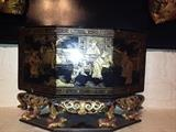 Chinese wood carved and lacquered covered pedestal