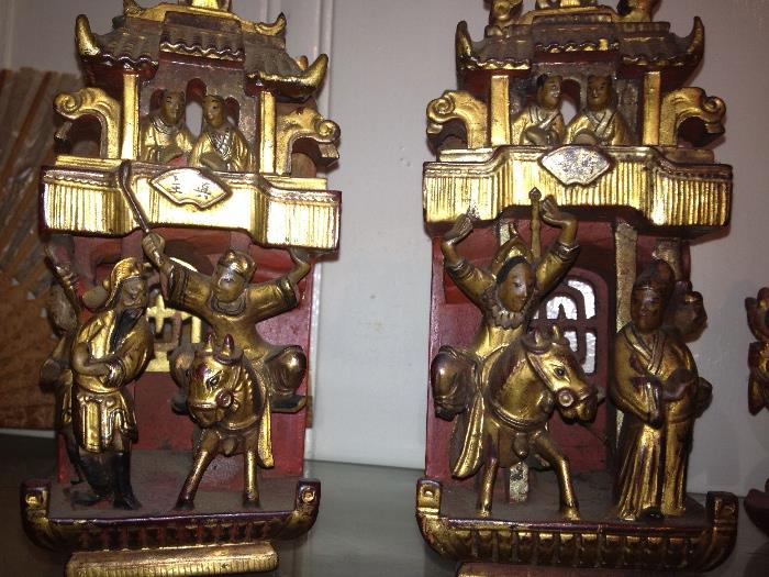 Carved gilt wood carvings