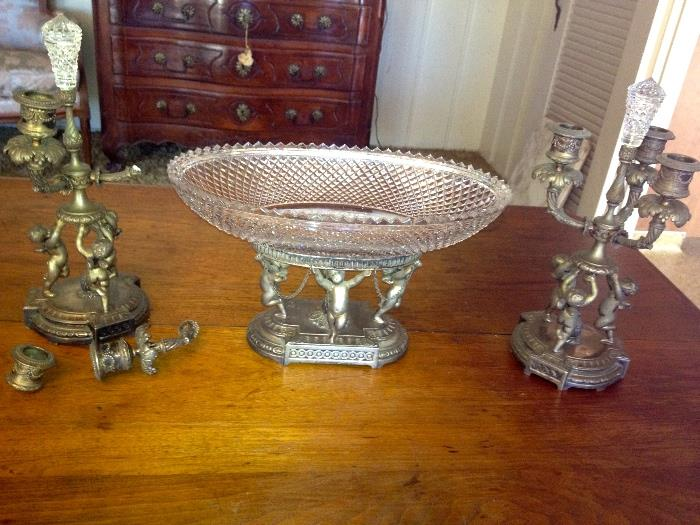 Rare Pairpoint Ganiture set,  One candelabra is broken but has all parts,  Amazing that the original crystal finials are still there.