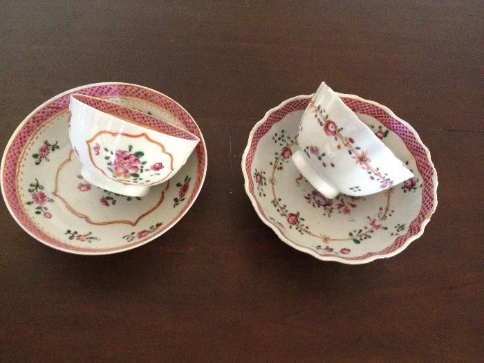 Chinese export tea cups and saucers circa 1790