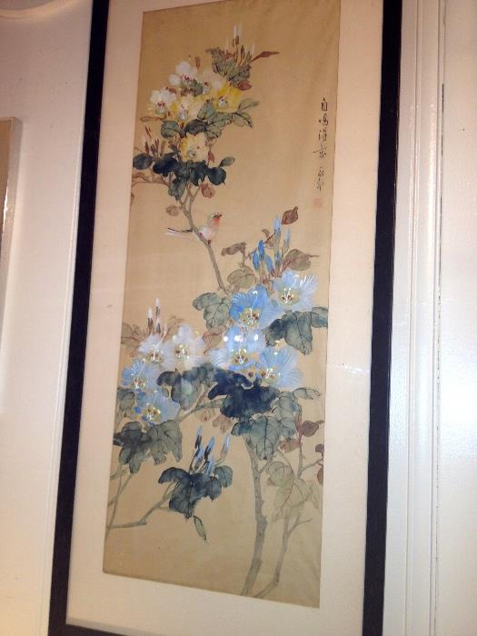 3 hand painted on silk Chinese paintings