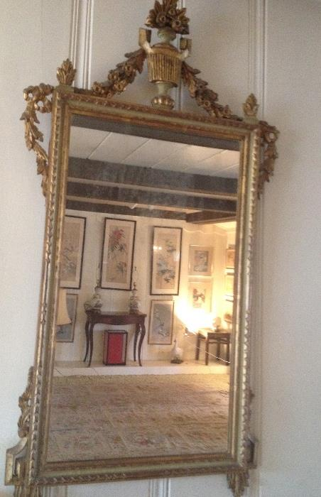 French wood carved mirror