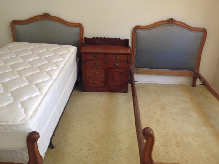 Antique Walnut tain beds with rails and upholstered headboard