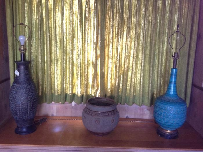 Wonderful large mid century pottery lamps and pots