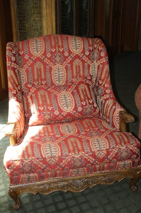 CUSTOM QUEEN ANN STYLE WING BACK CHAIRS
