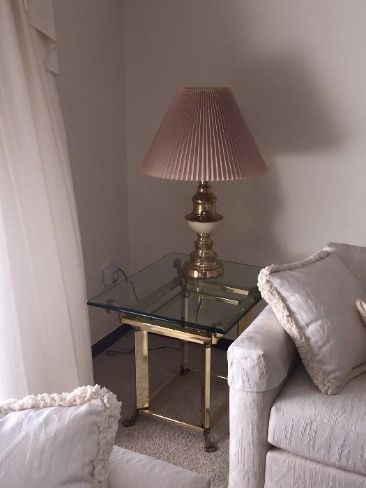 SMALL GLASS TOP GOLD TABLE & DUSTY ROSE SHADE LAMP