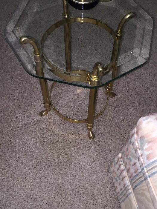 HEXAGON SHAPE GLASS TOP GOLD TABLE