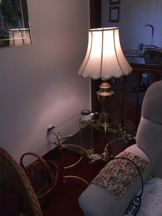 TABLE WITH GLASS-TOP AND STIFFEL LAMP