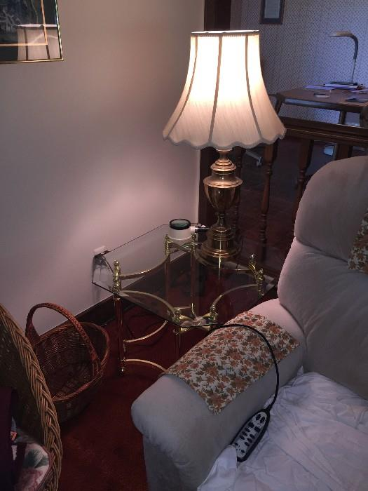 GLASS-TOP TABLE WITH LAMP