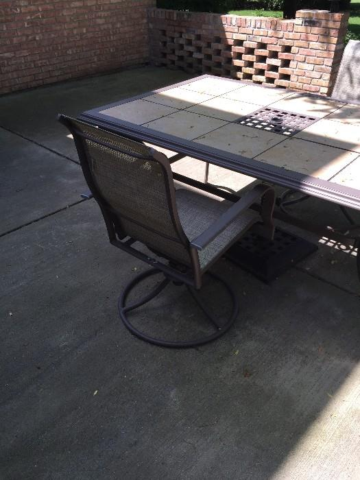 LARGE PATIO TABLE WITH TILE AND CHAIRS