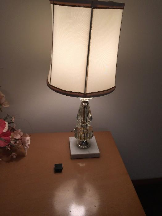 GLASS AND MARBLE LAMP