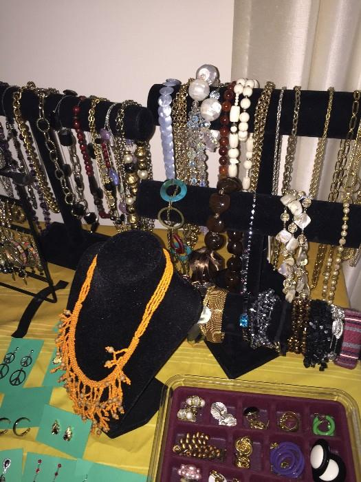 VINTAGE AND COSTUME JEWELRY-NECKLACES, BRACELETS , EARRINGS, BROOCHES