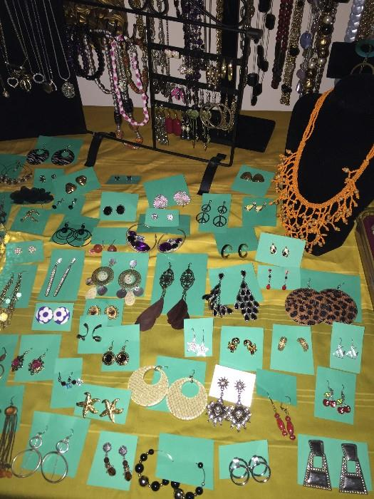 VINTAGE AND COSTUME JEWELRY-NECKLACES, BRACELETS , EARRINGS