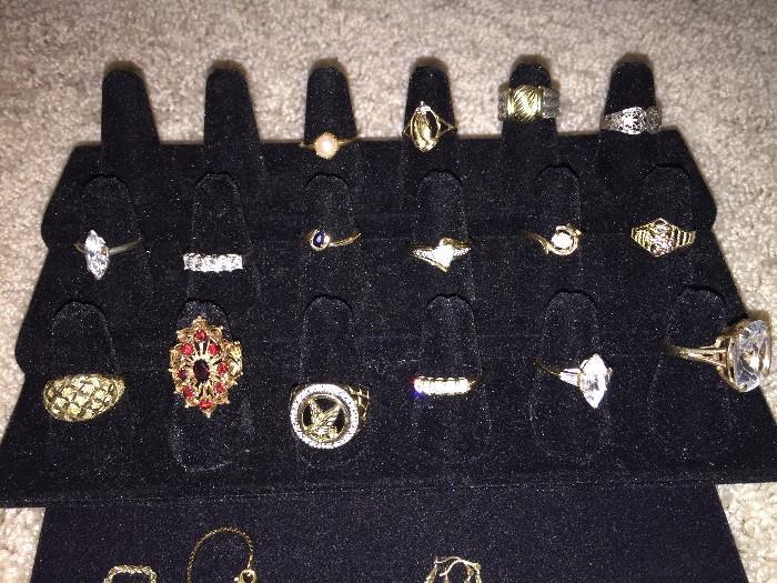 14K & 10K GOLD RINGS ( SAPPHIRE, GARNET, OPAL, PEARL)