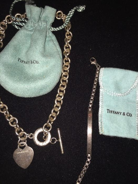 TIFFANY & CO STERLING SILVER HEART TOGGLE NECKLACE AND BEST FRIEND BRACELET