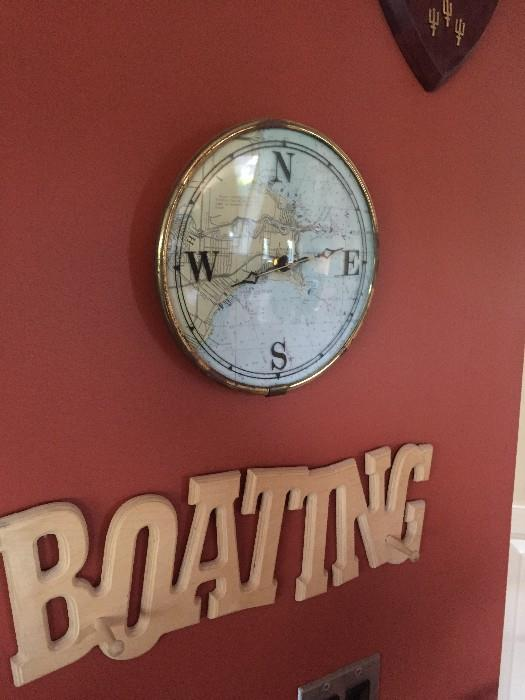 NAUTICAL COMPASS AND BOATING WALL DECOR'