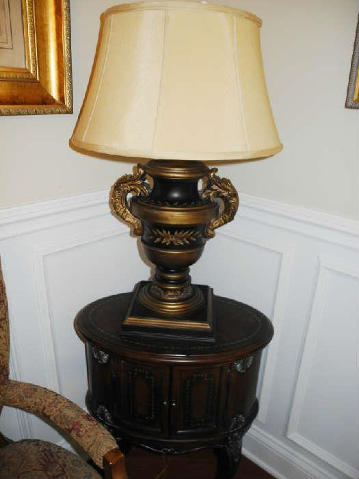 One of many occasional tables and one of many great looking lamps