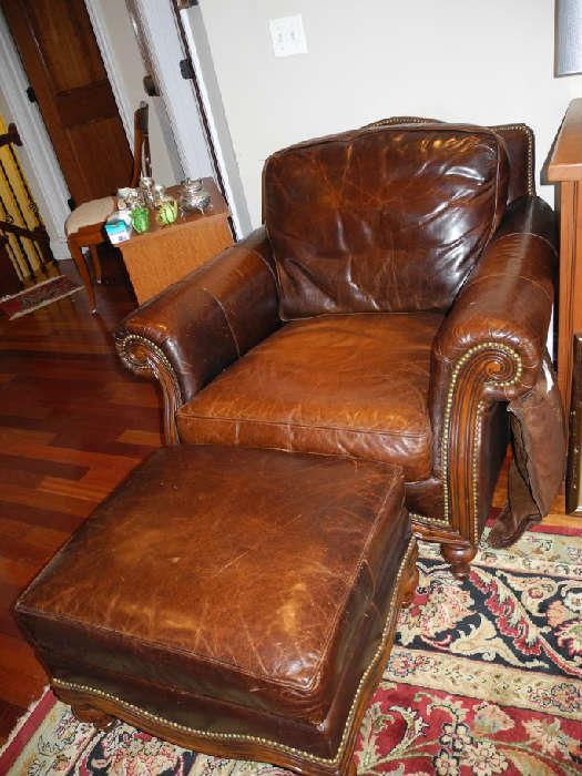 Nice leather club chair with ottoman