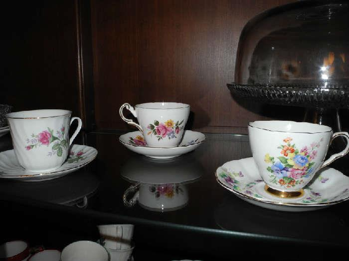 Several English bone china cups and saucers