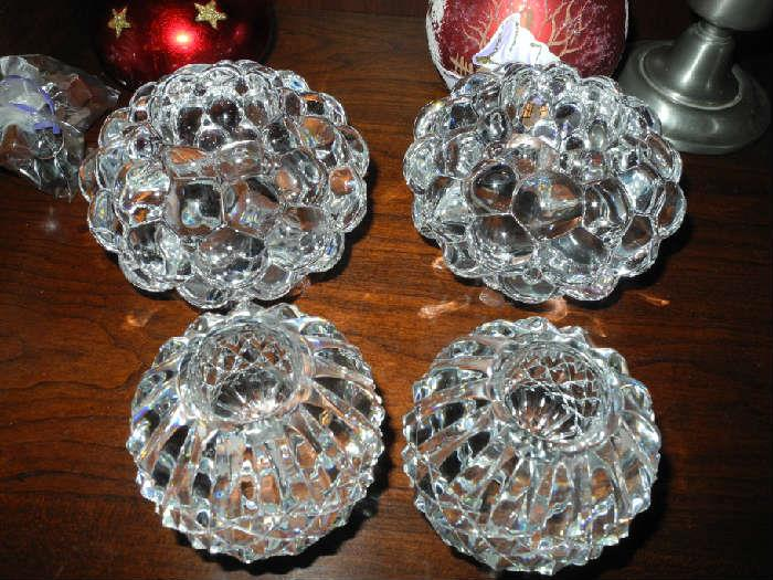 Waterford and Orrefors crystal candle holders
