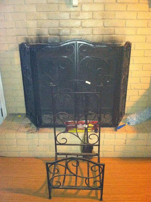 Fireplace screen, tool holder and wood rack combo