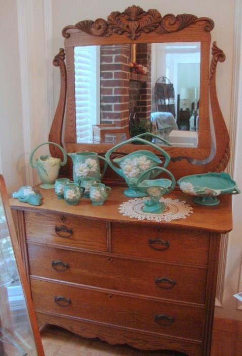 Antique Oak Dresser, Collection of Roseville Pottery