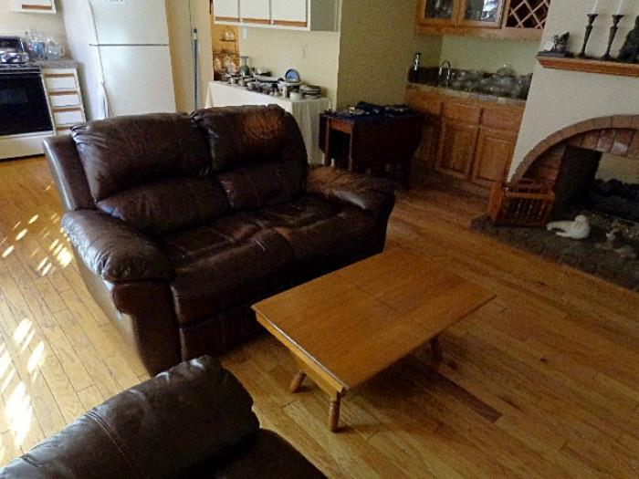 nice leather love seat and recliner