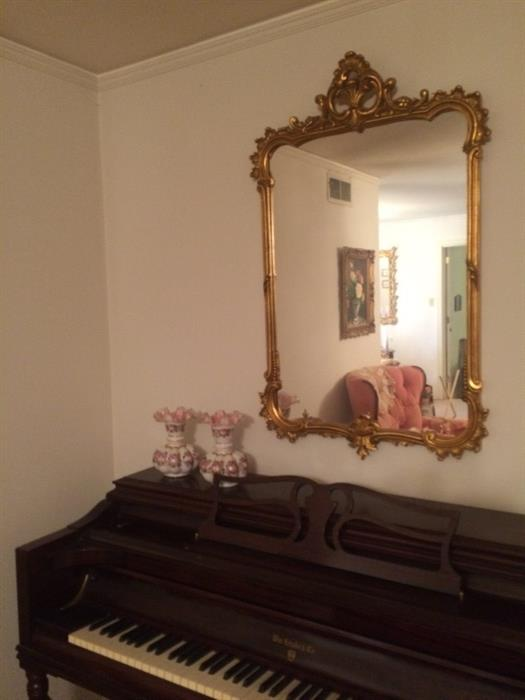 one of the Italian mirrors over the Knabe Piano and bench