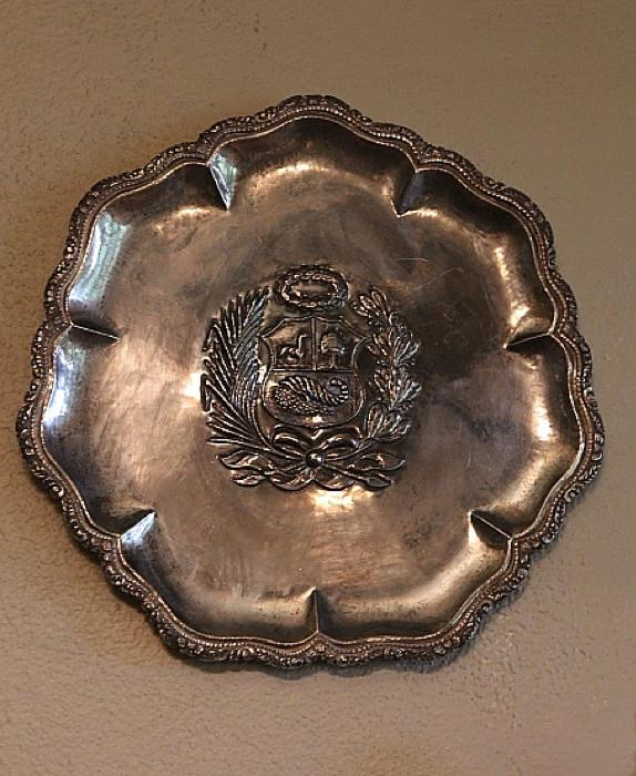 large Peruvian sterling silver platter