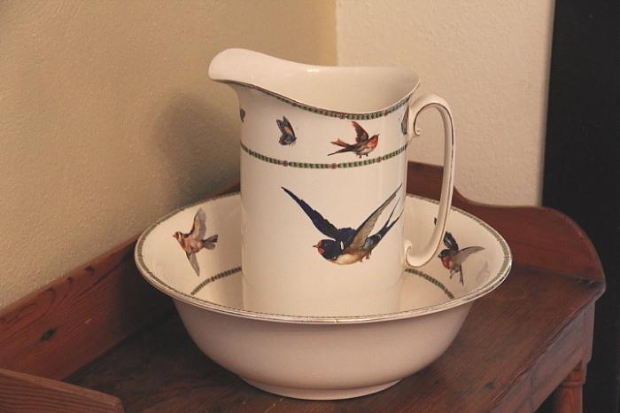 Bluebird China pitcher and bowl