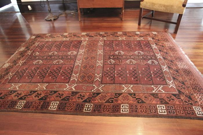 Tribal rug on 2nd floor landing