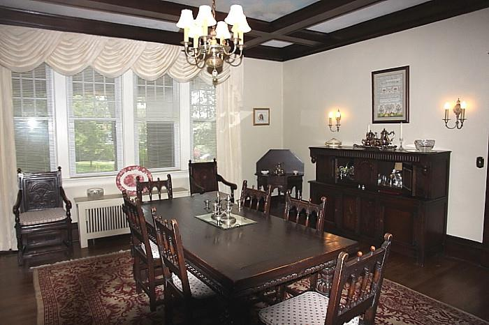 view of the dining room.  Note the beautiful carpet!