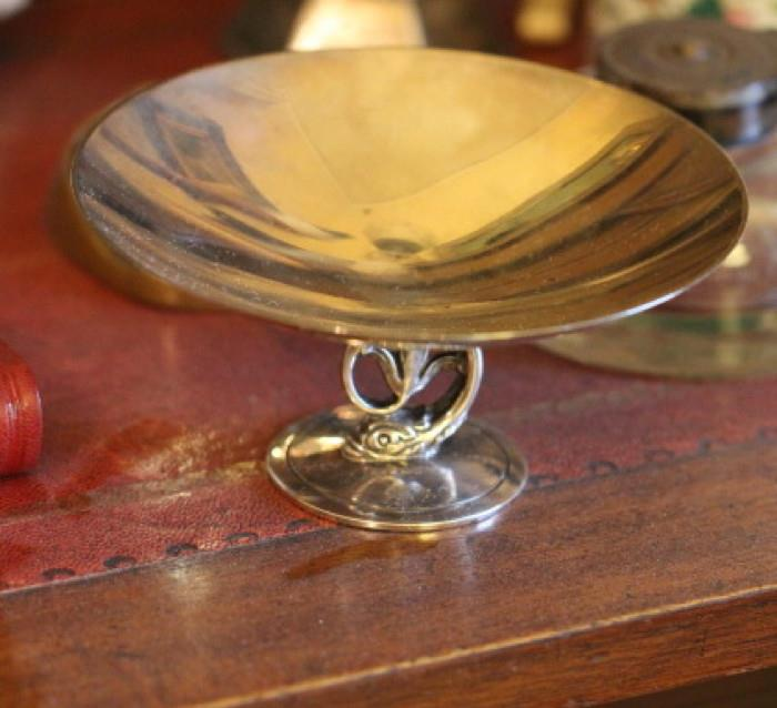 Tiffany & Co. sterling silver compote with dolphin detail