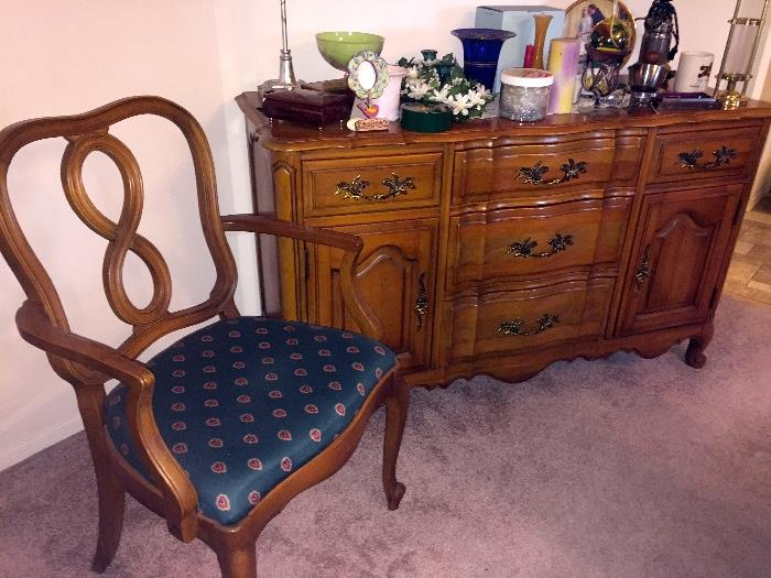 Pecan sideboard w/one of six chairs