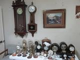 Wall clock with walnut case, Waterbury Clock Co. Banjo, Anniversary, Seth Thomas Clocks and Much Mor