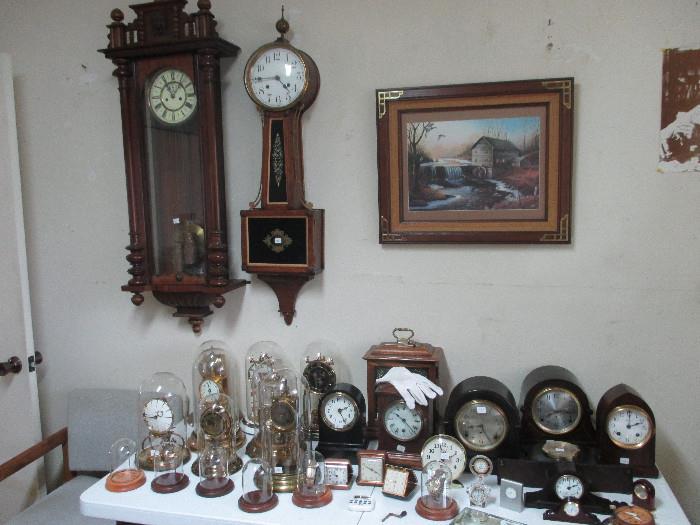 Wall clock with walnut case, Waterbury Clock Co. Banjo, Anniversary, Seth Thomas Clocks and Much Mor