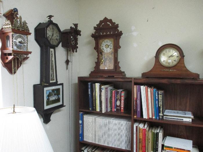 Alma Zaanse Atlas Style Wall Clock,  New Haven Clock Co. Banjo Style Clock, Schatz 8 day Cuckoo Clock, EN Welch Eastlake Style Shelf Clock, Mantle Clock,